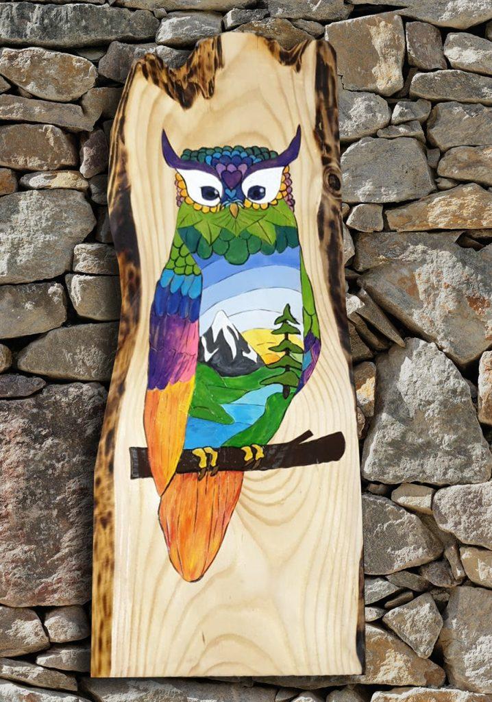Gufo multicolore dipinto su legno da Thaise Ramos